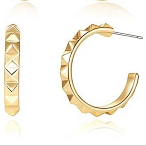 Brand new gold spike hoop earrings
